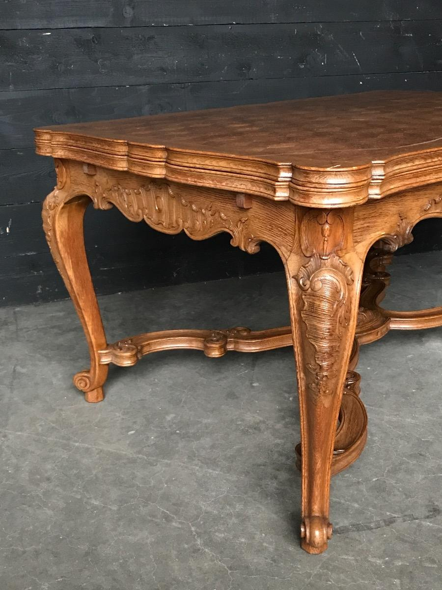 Antique Louis Xv Oak Carved Dining Table And Two Armchairs Four Chairs Sold Antiques Furniture