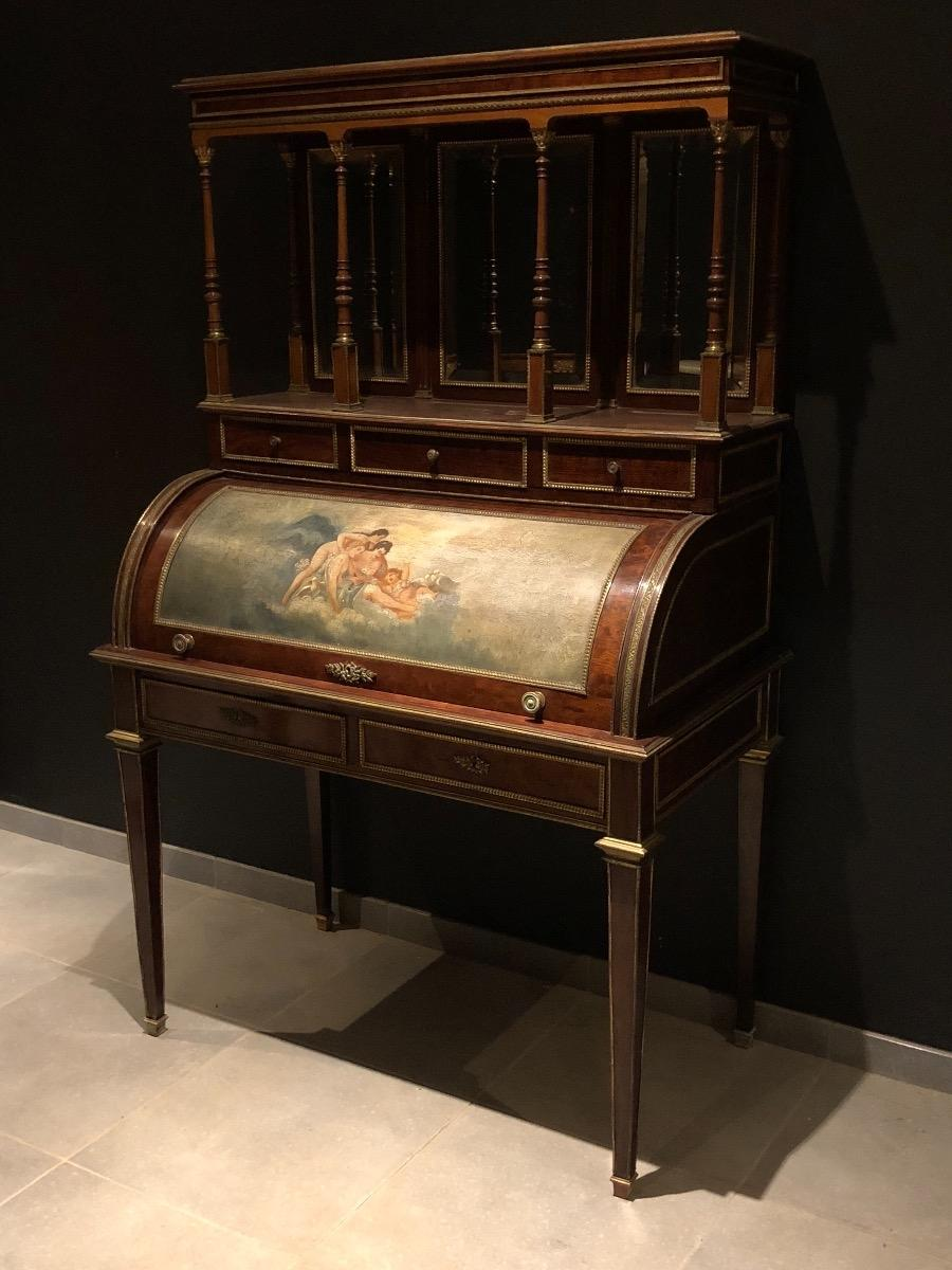 Antique mahogany cylinder desk - Antique Mahogany Cylinder Desk - Desks - FURNITURE - Antiques