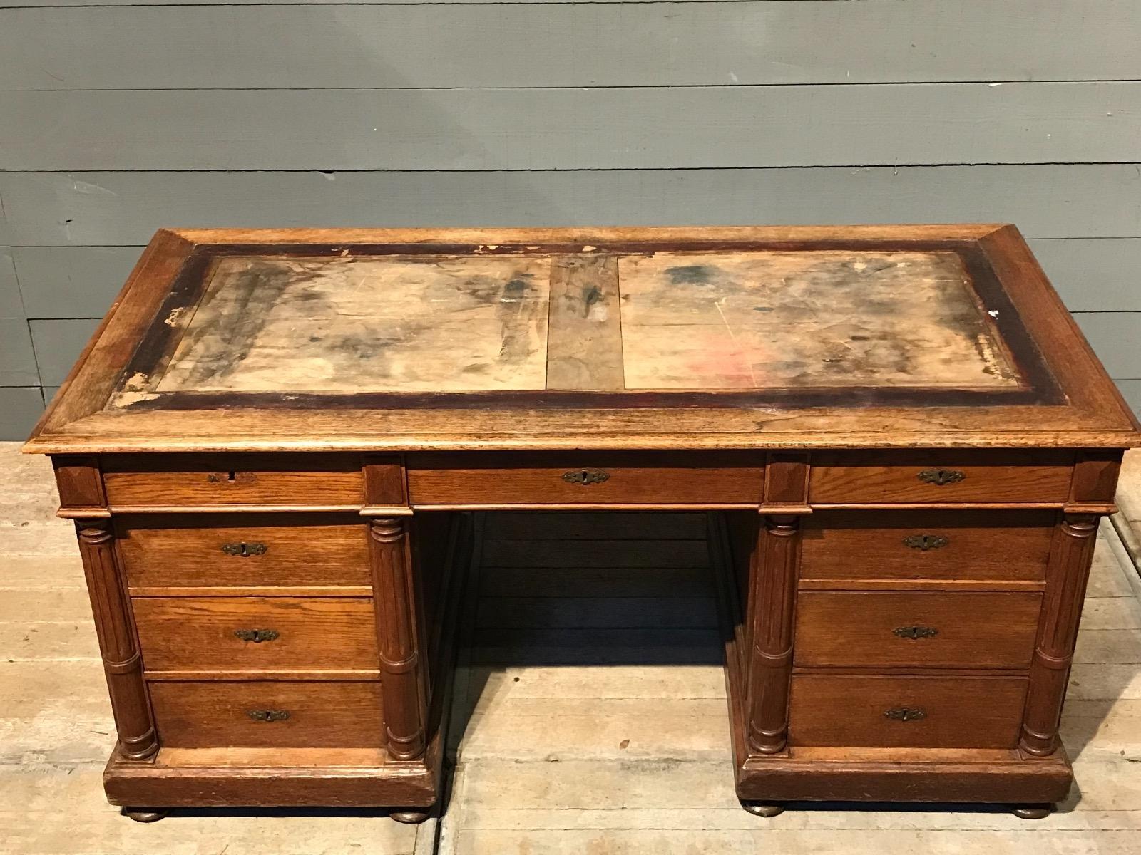 Antique Partners Desk French Provencial Desk