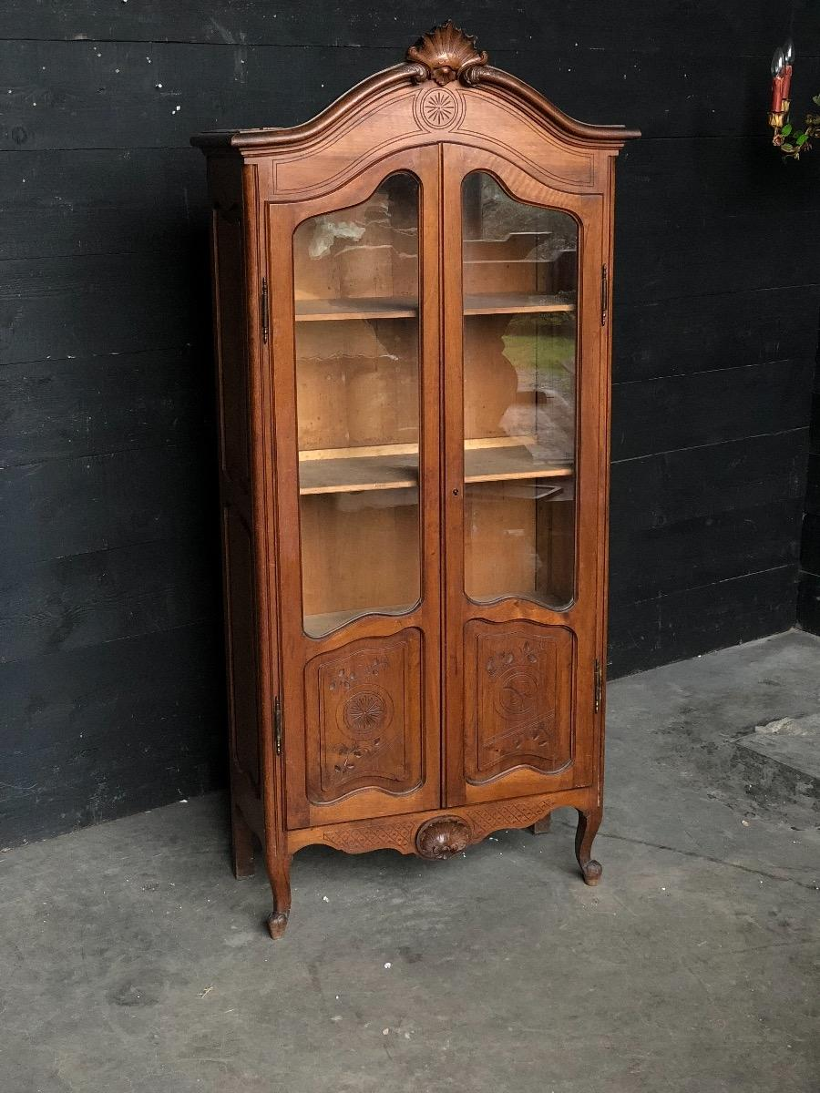 Antique Walnut Louis Xv French Display Cabinet Cabinets Furniture Antiques
