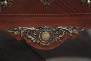 Louis 15 style Mahogany and bronzes Bombé Marble Top Chest of Drawers