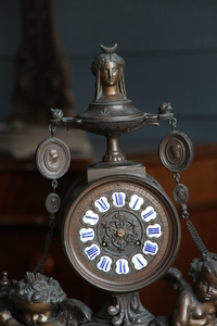 Napoleon 3 style Mantle Clock with Putti's in spelter, france 1880