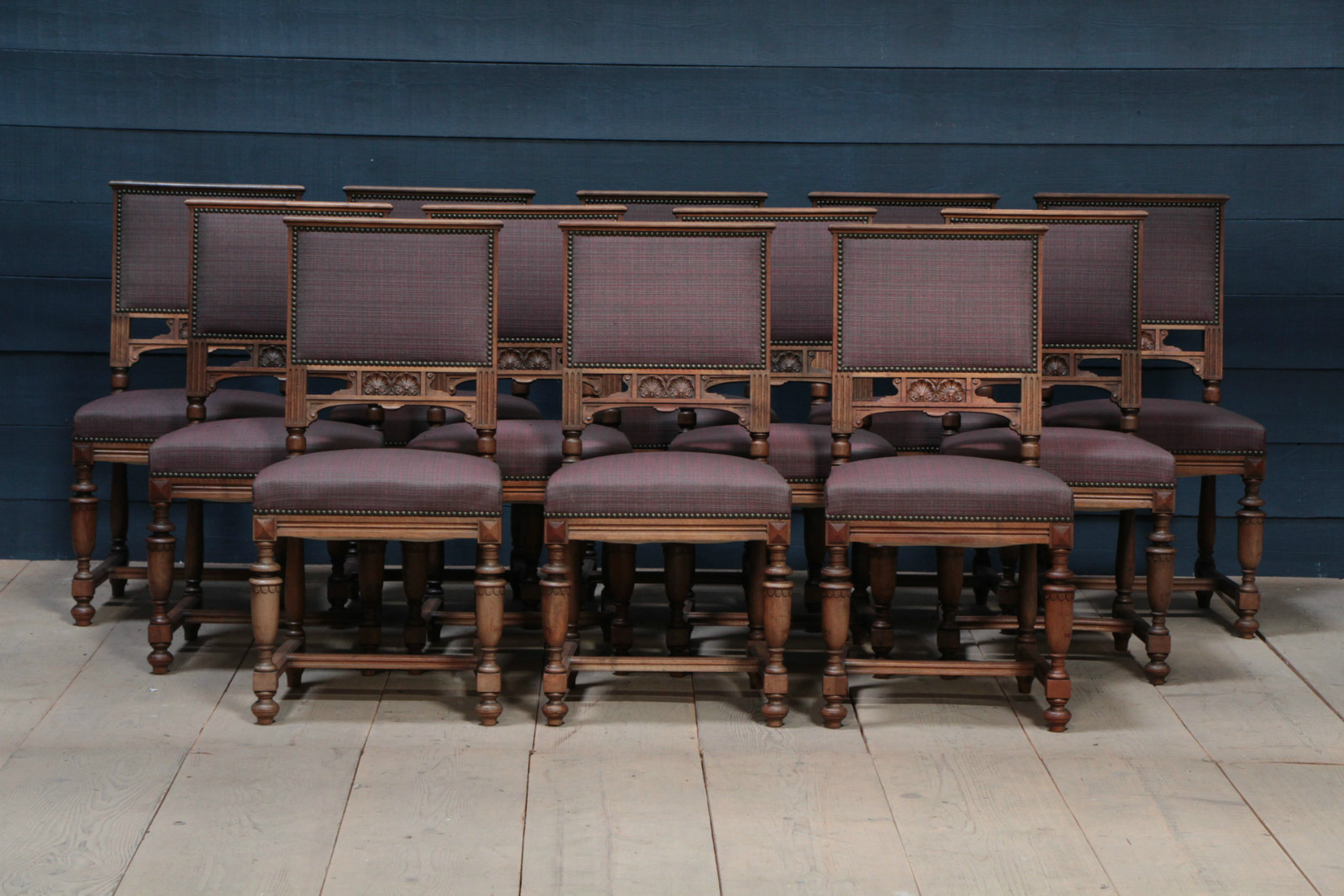 Picture of: Set Of 12 Walnut Dining Chairs Sold Antiques Furniture