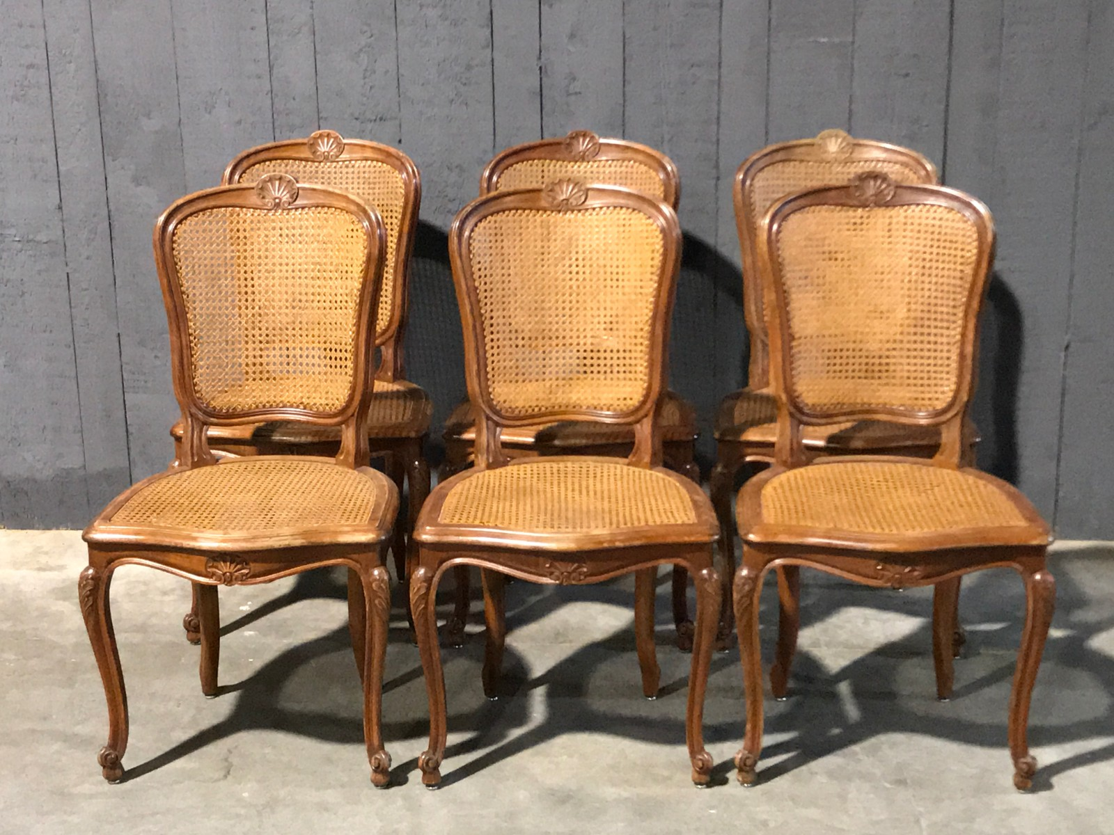 Six Louis Xv Cherry Wood Dining Chairs