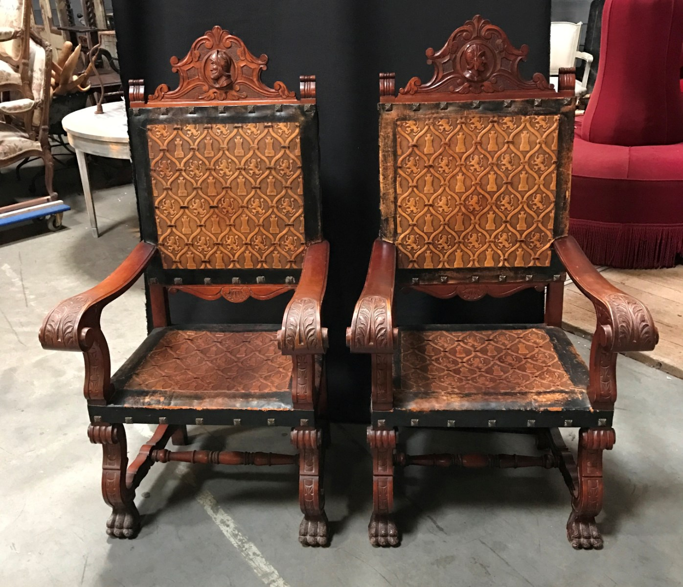 Spanish Pair Armchairs Armchairs Seating Antiques Furniture